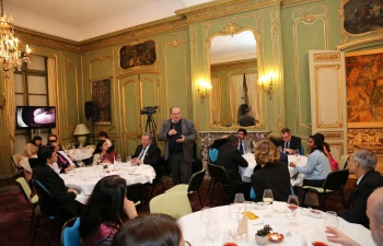 A reception was hosted at India House in honour of Indo-French Friendship Group of the National Assembly on 07 February.
