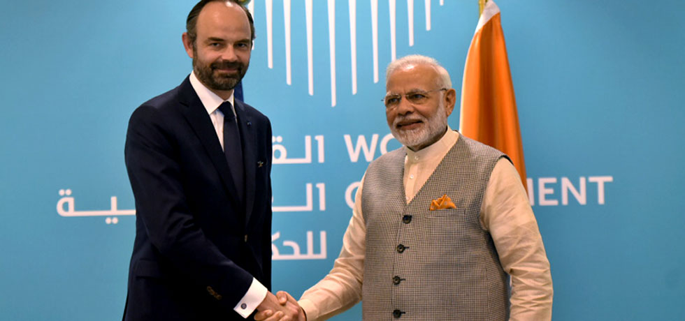 Prime Minister Mr. Narendra Modi met the Prime Minister of France Mr. Edouard Philippe on the side lines of the World Government Summit in Dubai on 11 February 2018