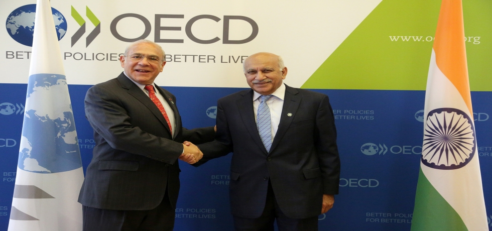 Hon'ble Minister of State for External Affairs Shri MJ Akbar and Mr. Angel Gurría, Secretary-General of the OECD at the OECD Headquarters today in Paris.