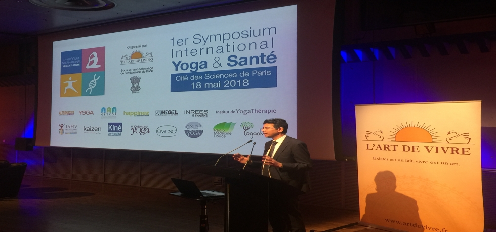 A one day international symposium on 'Yoga and Health' was organised by Art of Living, France at La Villette on 18 May 2018. This event was inaugurated by Mr. Manish Prabhat, Deputy Chief of Mission, Embassy of India. Paris