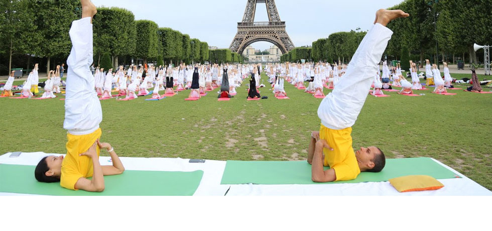 Celebration of Fourth International Day of Yoga in Paris at Eiffel Tower on 17 June 2018