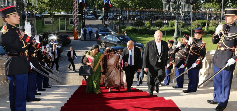French Foreign Minister Mr. Jean-Yves Le Drian receives External Affairs Minister of India Ms. Sushma Swaraj at the Quai d'Orsay in Paris on 18 June ahead of the delegation-level talks. The two leaders held in-depth and constructive discussion on full range of bilateral relationship.
