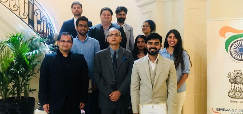 On 20 July, Ambassador of India to France, Mr. Vinay Kwatra interacted with the winners of first edition of Start up competition organised by the Embassy of India in collaboration with Indian community in France. The competition was aimed at encouraging the entrepreneurial spirit in People of Indian origin in France