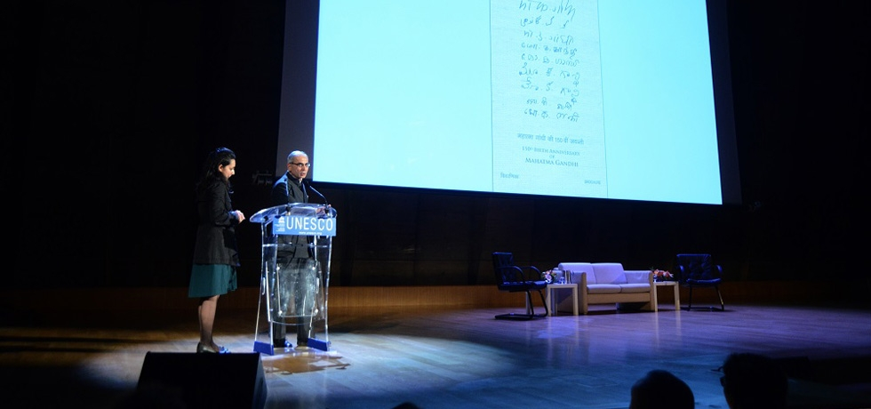 Ambassador of India to France, Mr. Vinay Mohan Kwatra, unveiled digital postage stamps of Gandhiji on the 150th Birth Anniversary of the Mahatma at UNESCO Headquarters.