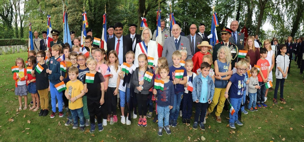 Commemorative ceremonies to honor Indian soldiers who laid down their lives in France during World War 1 was organised at Lillers and Beuvry Cemeteries in North of France by Embassy of India.