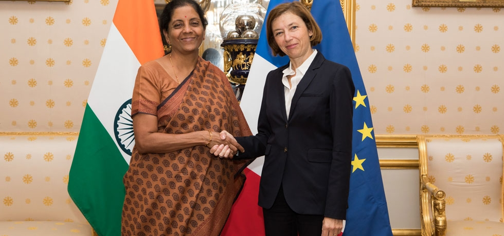 Hon'ble Raksha Mantri with the Defence Minister of France H E Ms. Florence Parly after the first ministerial level annual defence dialogue on 11th October 2018