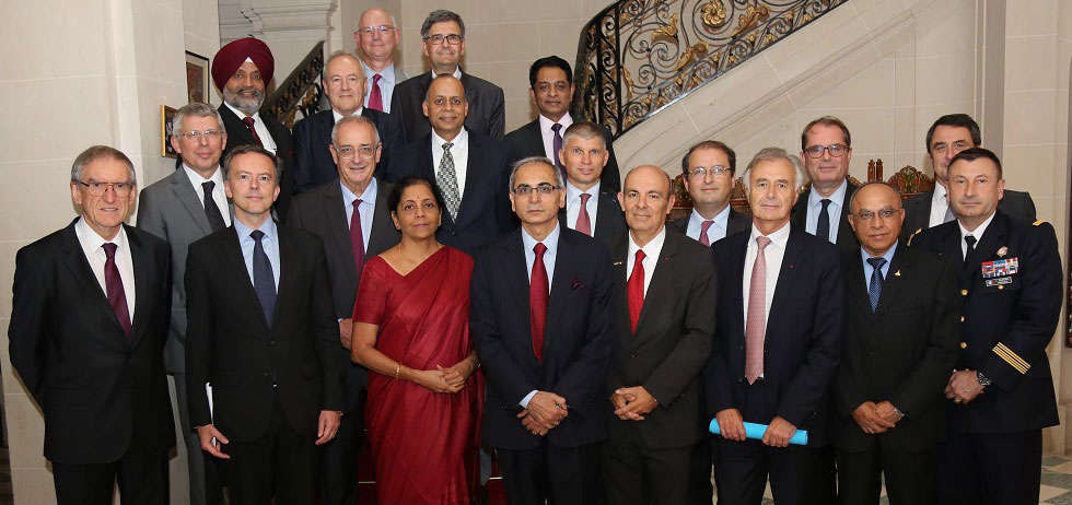 Hon'ble Raksha Mantri meeting the leaders of French defence industry at the residence of the Ambassador HE Mr. Vinay Mohan Kwatra on 12th October 2018