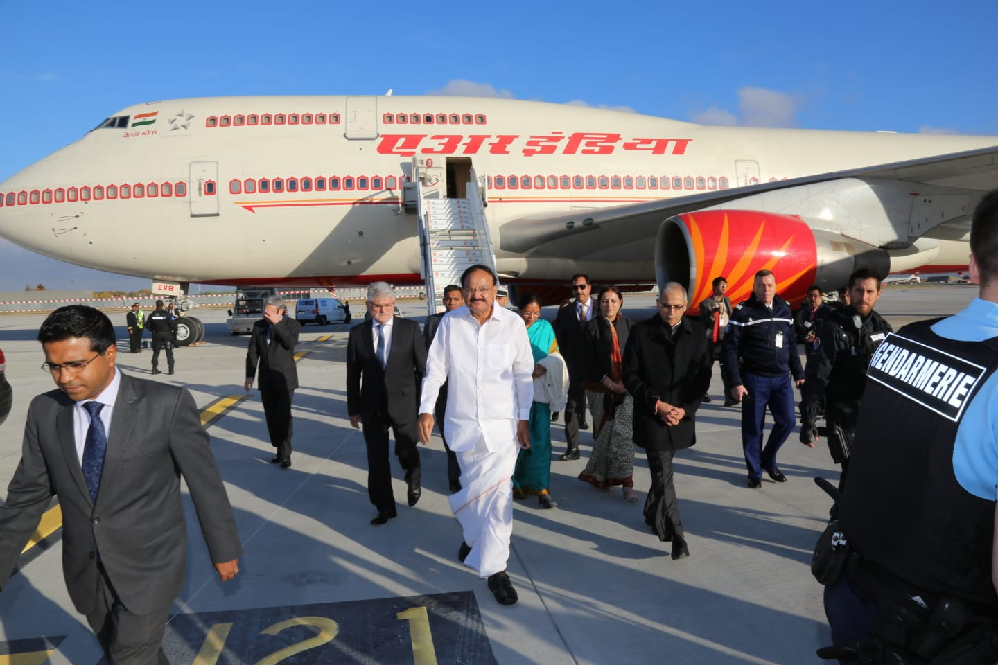Hon'ble Vice President of India Shri M. Venkaiah Naidu arrives in Paris on a 3-day visit at the invitation of French Government