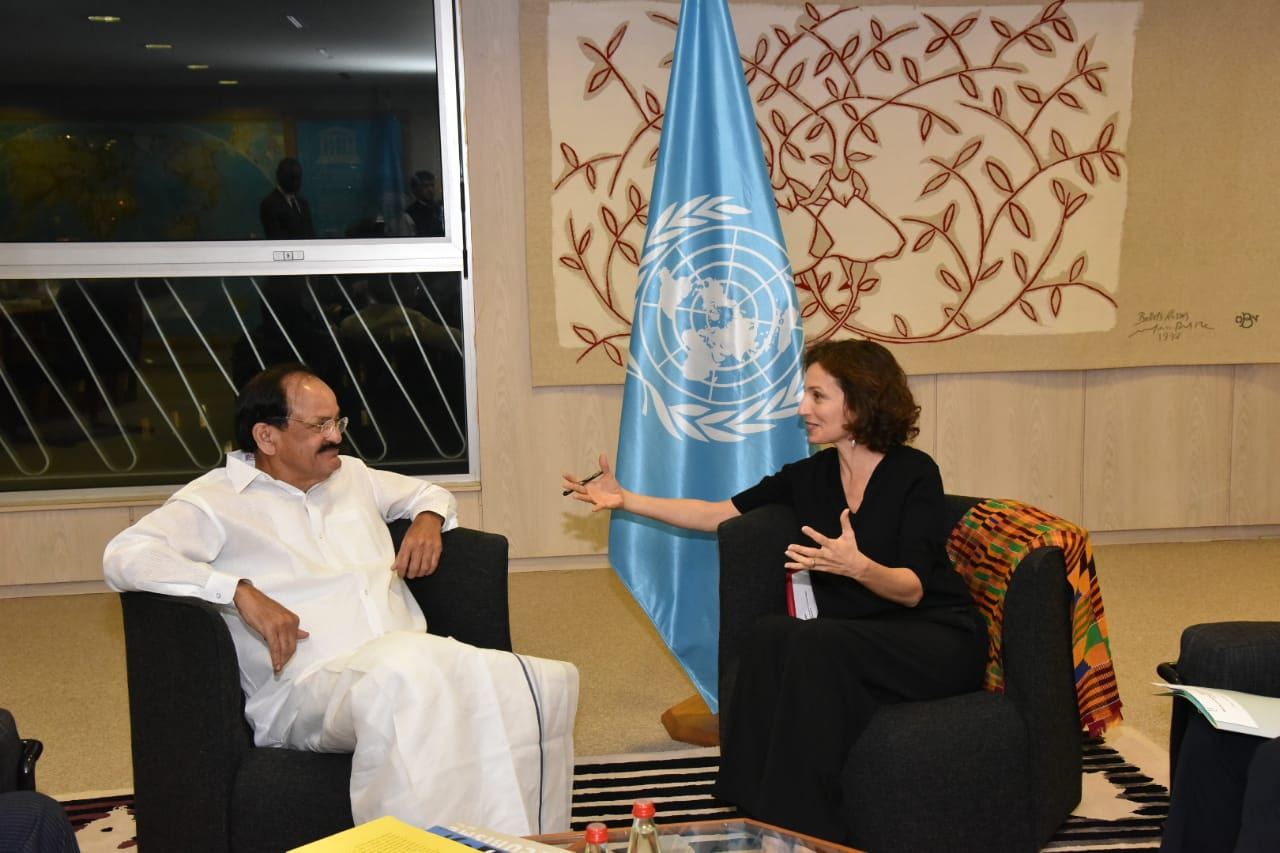 Hon'ble Vice President of India Shri M. Venkaiah Naidu discussing India's outreach in cultural, scientific and educational fields with Director General UNESCO Ms. Audrey Azoulay