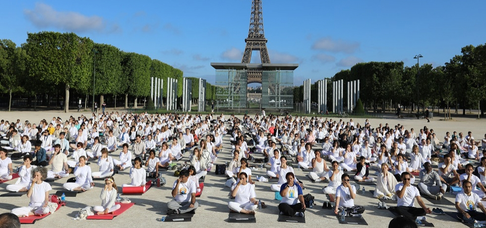 Embassy of India, Paris celebrated fifth International Day of Yoga 2019 in front of the Eiffel Tower and Wall of Peace on 16.06.2019