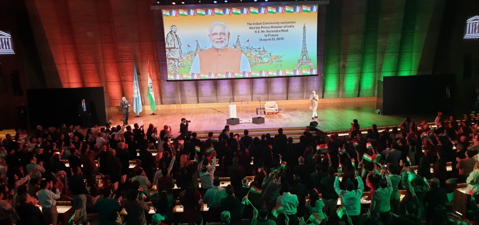 Enthusiastic Indian Diaspora welcomed Prime Minister Shri Narendra Modi in UNESCO, Paris today!