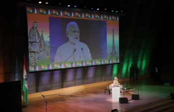 Prime Minister Shri Narendra Modi addressing the Indian Diaspora as part of his bilateral visit to France in the UNESCO headquarters