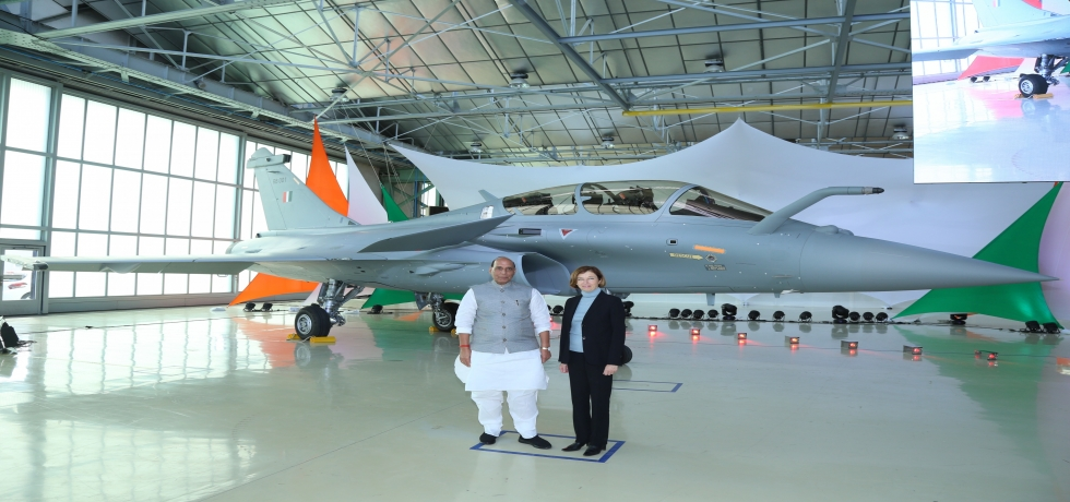 Hon'ble Defense Minister Shri. Rajnath Singh with his counterpart, Madam Florence Parly at Induction ceremony for receiving first Rafale Fighter Jet