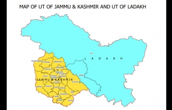 Map of Union Territory of Jammu and Kashmir and Union Territory of Ladakh