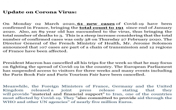 Updates about Corona Virus