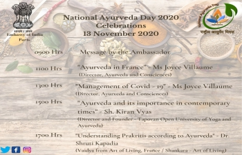 Ayurveda Day 2020 Celebration on November 13, 2020