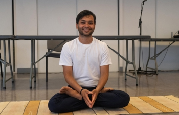 Yoga asanas session in the open area provided by InFra at Juvisy (Suburaban area of Paris)